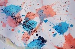 闪耀的桃红色蓝色蜡状的斑点构造,给冬天背景打蜡 免版税库存图片