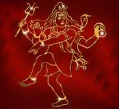 闪耀的红色背景的印度神希瓦阁下 库存例证