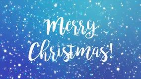闪耀的蓝色圣诞快乐贺卡录影 股票视频