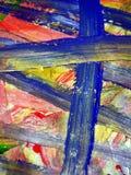 闪耀的蓝色桃红色橙色蜡绘结构,油漆结构,绘抽象创造性的背景 免版税库存照片
