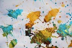闪耀的蓝色金黄斑点构造,给冬天背景打蜡 库存照片
