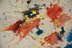 闪耀的被弄脏的冬天生动的纹理,红色,橙色蓝色背景,设计 免版税库存图片