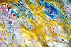 闪耀的金桃红色蓝色蜡状的抽象背景,水彩生动的背景,纹理 库存照片