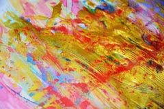 闪耀的金黄红色桃红色水彩背景,生动的背景,纹理 库存图片