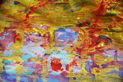 闪耀的金黄被弄脏的淡色抽象背景,生动的背景,纹理 库存照片