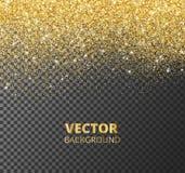 闪耀的闪烁边界,框架 在透明背景隔绝的落的金黄尘土 传染媒介装饰 库存例证
