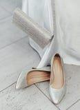 闪耀的鞋子和钱包 库存照片