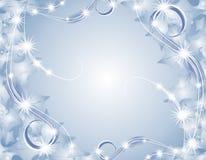 闪耀背景蓝色的圣诞灯 库存照片