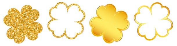 闪耀设置四片三叶草的叶子和光亮的金子 库存例证