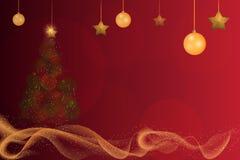 闪耀Bokeh发光的圣诞树和金子的闪烁 皇族释放例证
