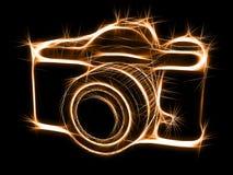 闪耀photocamera的剪影 库存例证