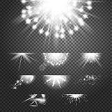 闪闪发光荣耀作用 简单的在透明背景的传染媒介白色和明亮的太阳 库存图片