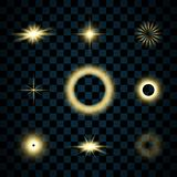 闪闪发光金星集合,被隔绝的透明背景 焕发亮光作用 与闪烁的金黄不可思议的爆炸,发光 库存例证