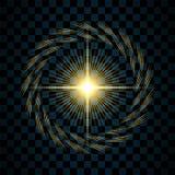 闪闪发光金星,被隔绝的透明背景 焕发亮光作用 与闪烁的金黄不可思议的爆炸,发光发光 向量例证