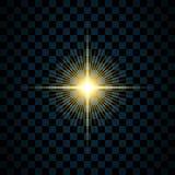 闪闪发光金星,被隔绝的透明背景 焕发亮光作用 与闪烁的金黄不可思议的爆炸,发光发光 皇族释放例证