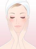 闭上她的眼睛的美丽的妇女在面部关心以后 向量例证