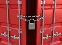 闭合的容器运费锁定红色 免版税库存照片