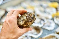 闭合的牡蛎在一只男性手上,以开放oys为背景 库存照片