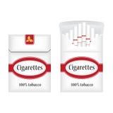 闭合的白色香烟 香烟开张装箱 香烟组装象 香烟组装例证 库存图片