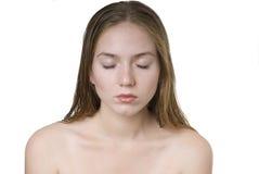 闭合的眼睛妇女 图库摄影