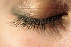 闭合的眼睛特写镜头与宏观长的睫毛的 库存照片