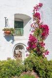闭合的窗口和开放鸟笼在圣卡塔利娜修道院Areq里 免版税图库摄影