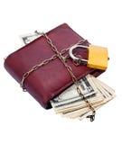 闭合的货币挂锁钱包 库存图片