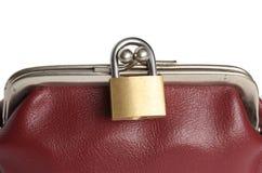 闭合的钱包挂锁。 库存图片