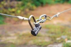 闭合的锁定 特写镜头,选择聚焦 免版税库存照片