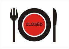 闭合的餐馆符号 免版税库存照片
