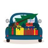 问候与减速火箭的汽车的圣诞卡有礼物盒和圣诞树的 皇族释放例证
