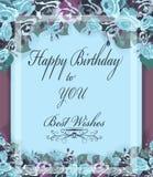 问候与淡色玫瑰的生日贺卡,葡萄酒框架 免版税库存照片
