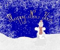问候圣诞节和新年快乐卡片与雪人 免版税图库摄影