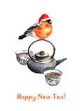问候明信片用茶、茶壶和红腹灰雀在红色帽子 库存图片