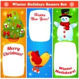 问候被设置的圣诞节和新年baners 免版税库存图片