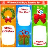 问候被设置的圣诞节和新年baners 免版税图库摄影