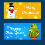 问候被设置的圣诞节和新年baners 免版税库存照片