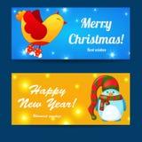 问候被设置的圣诞节和新年baners 库存照片