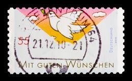 问候:和平潜水,招呼邮票serie,大约2010年 免版税库存照片