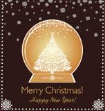 问候xmas与纸的葡萄酒卡片删去了金黄地球、xmas树和雪花 库存照片