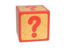 问号-儿童的字母表块。 库存图片
