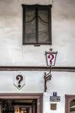 问号kafana,最旧的传统小酒馆在Belgrad 免版税库存照片