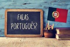 问题falas portuges ?您是否讲葡萄牙语? 库存图片