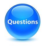 问玻璃状深蓝蓝色圆的按钮 免版税库存图片