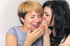 闲话女孩的画象告诉在耳朵的一个秘密对她的朋友在家坐长沙发 免版税库存图片