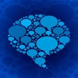 闲谈在蓝色背景的泡影标志 库存照片