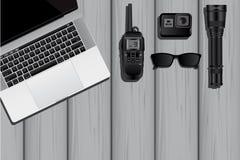 间谍或私家侦探的设备 免版税库存照片