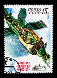 间隔对轨道复合体,在宇航员波波夫和Ryumin serie空间的185天的研究,大约1981年 图库摄影