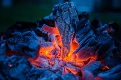 闷燃的灰 灼烧的采煤 BBQ烤肉 库存照片