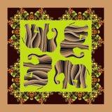 闹事 可爱的桌布或被子 与装饰品边界的种族班丹纳花绸印刷品 向量例证